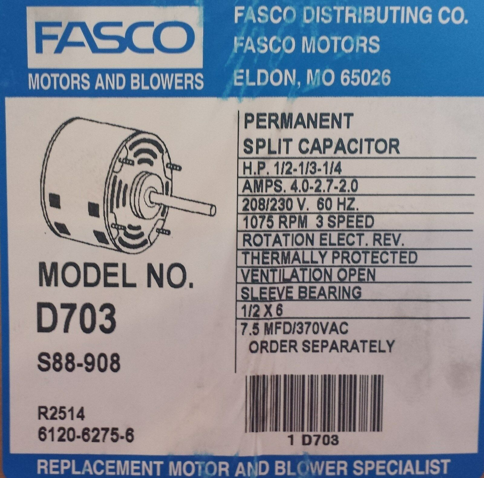 D703 Fasco Motor Wiring Diagram 31 Images B45227 Blower S L1600 Direct Drive 1 2 Hp Ebay