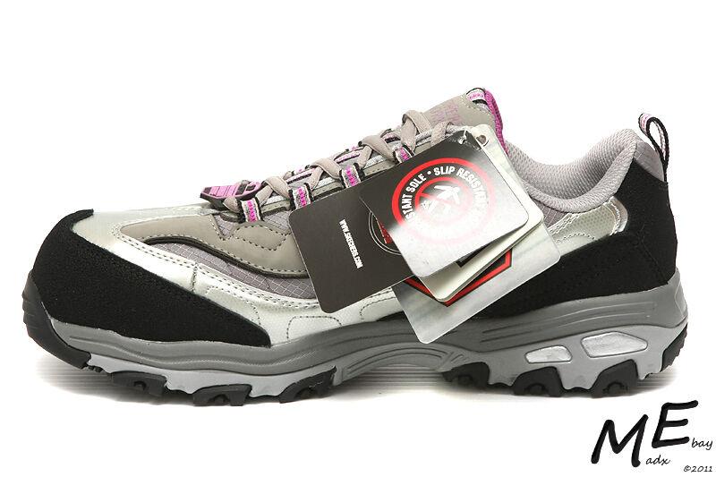 New Skechers D'lites SR Service Safety Work Toe Women Hiker Leather Work Safety Boots Sz7.5 ede970