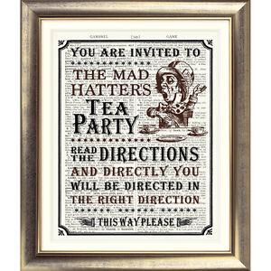 ART-PRINT-ON-ANTIQUE-BOOK-PAGE-Alice-in-Wonderland-Vintage-Picture-Poster-Sign