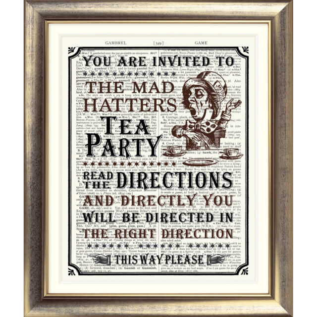 ART PRINT ON ANTIQUE DICTIONARY BOOK PAGE Alice in Wonderland Tea Party Picture