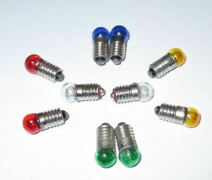 """Farbe nach Wahl  10 x   /""""NEU/"""" Ersatzlampen Schraubgewinde 6mm E5.5-19V"""