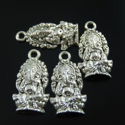 20 pcs Vintage Silver Alloy Hindu Elephant Buddha Craft Pendant Charm 27x14x5mm