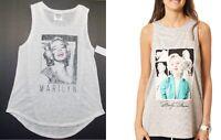Marilyn Monroe Womens Gray Or Whitetank Tops T-shirts Juniors M, Lg Or Xlg