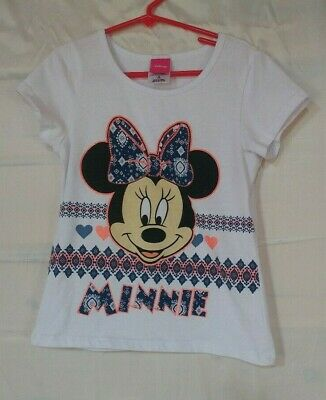 choose size 7-16 Disney Minnie Mouse Girls Short Sleeve White T-Shirt