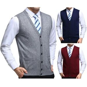 New-Men-039-s-Sleeveless-Sweater-Jacquard-Knitted-Pockets-Vest-V-Neck-Business-Tops