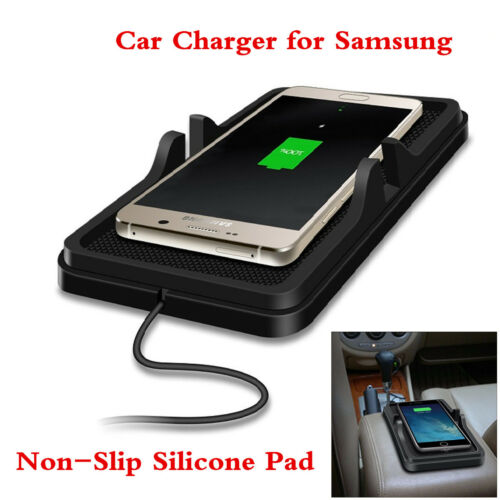 Car Qi Wireless Charger Dashboard Holder Mount Silicone Non-Slip Mat for Samsung