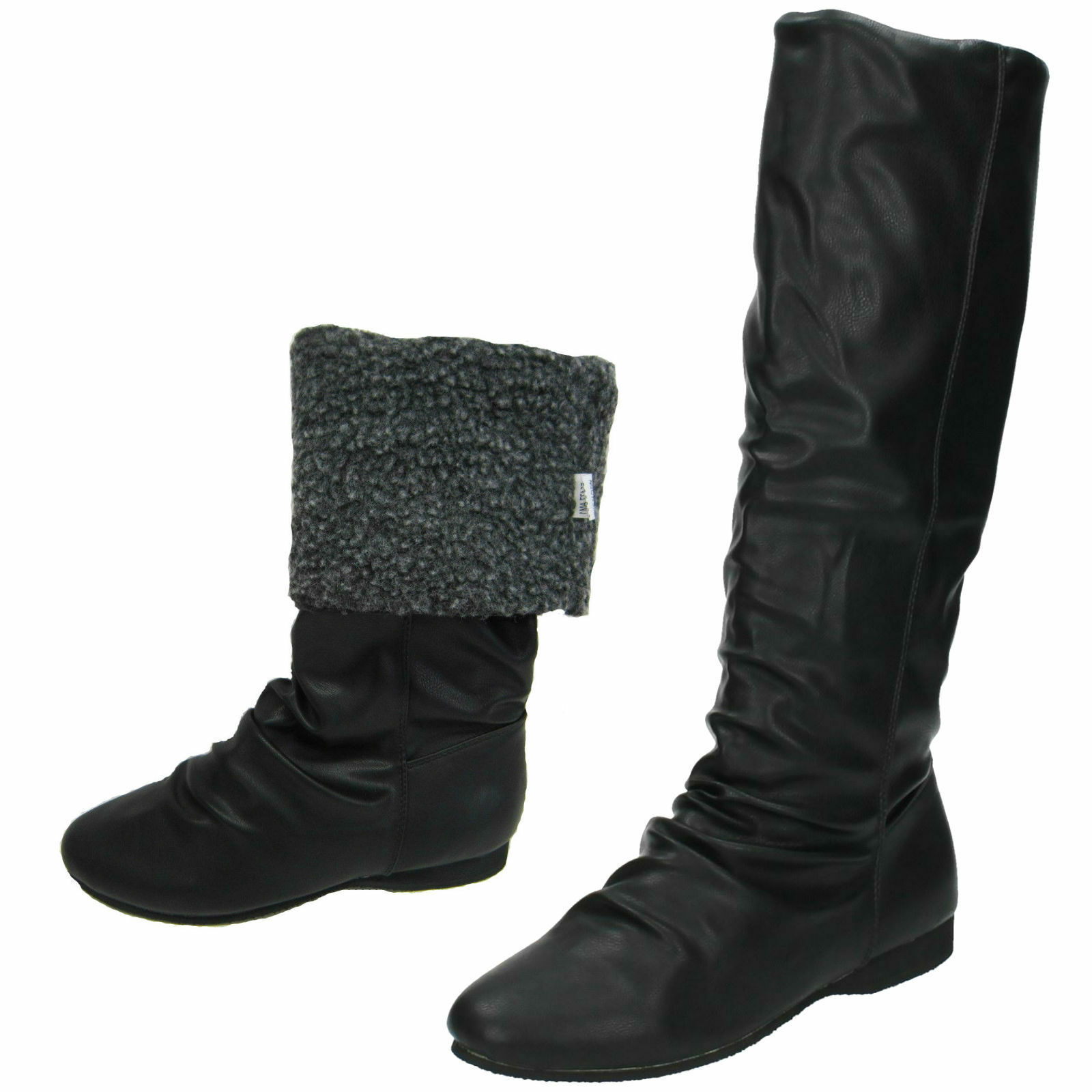 SALE LADIES SPOT ON F5477 PULL ON FUR LINED CASUAL FLAT LONG KNEE WINTER BOOTS