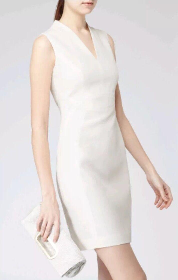 Designer REISS Justine fitted pannel dress Größe 8 --BRAND NEW-- grau lightweight