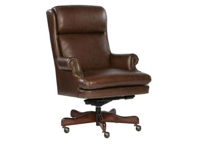 Hekman Tufted Leather Executive Office Chair 7 9253x Color Coffee For Sale Online Ebay