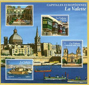 FEUILLET-TIMBRES-NEUFS-XX-Bloc-Capitales-Europeennes-La-Valette-Ile-de-Malte