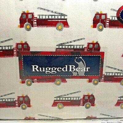 Fire Truck Flannel Sheet Set Vintage Design Rugged