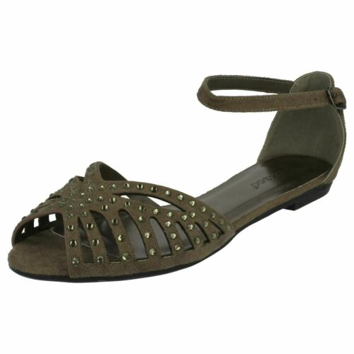 Anne Michelle Ladies Flat Diamante Trim Sandals