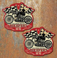 Bikefest Pin up girl Stickers Biker Motorcycle Bike Bobber Chopper toolbox decal