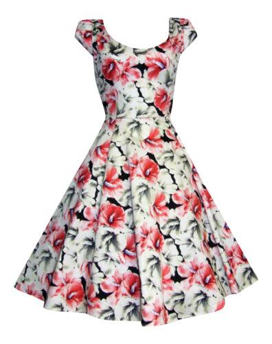 Retro Lilies Floral Print 1940/'s 1950/'s Flared Cotton Tea Dress New 8-18