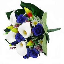 Artificial silk mixed flowers bouquet Calla Lilies Roses 40cm Blue