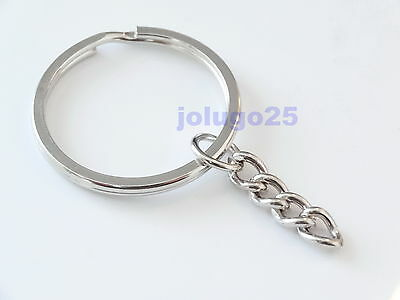 Lot of 25 50 100 200 New Key Ring with Chain 1 inch Key Rings K28