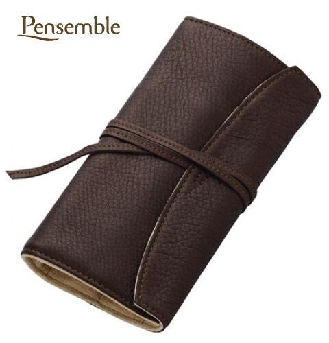 "Pilot (NAMIKI) pen case ""Pensemble"" five pens leather pen wrap Brown / New!!"