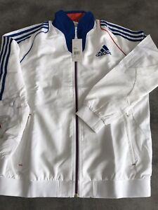 Détails sur VESTE De SURVETEMENT TRG ADIDAS France jacket Femme 40 Zip Bleu Blanc Rouge Neuf