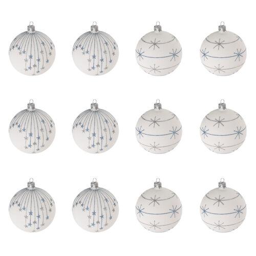 Weihnachtskugeln Ø6cm 2 Sorten Christbaumkugeln Baumschmuck aus Glas Weiß 12tlg
