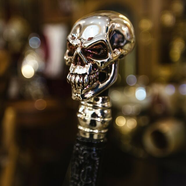 NICKLE FINISH SOLID BRASS SKULL HEAD HANDLE DESIGN FOR WALKING STICK CANES SHAFT