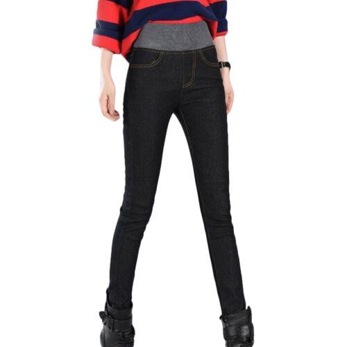 Women Winter Thick Fleece Thermals Warm Jeans High Waist Slim Fashion Trousers