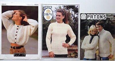 """#98 Ladies Mens Aran Sweater /& Cardigan 30-44/"""" 76-112cm Vintage Knitting Pattern"""