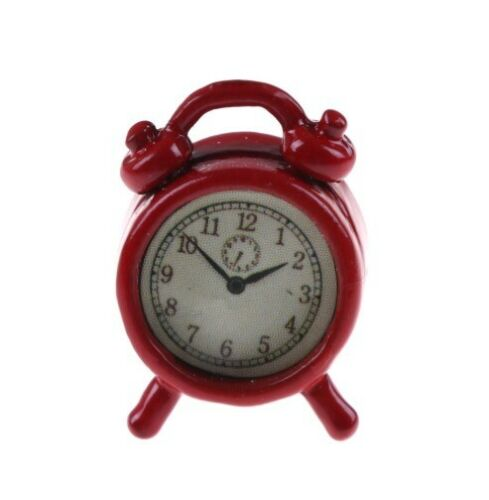 1//12 scala casa delle bambole Rosso Sveglia in metallo NUOVO UK