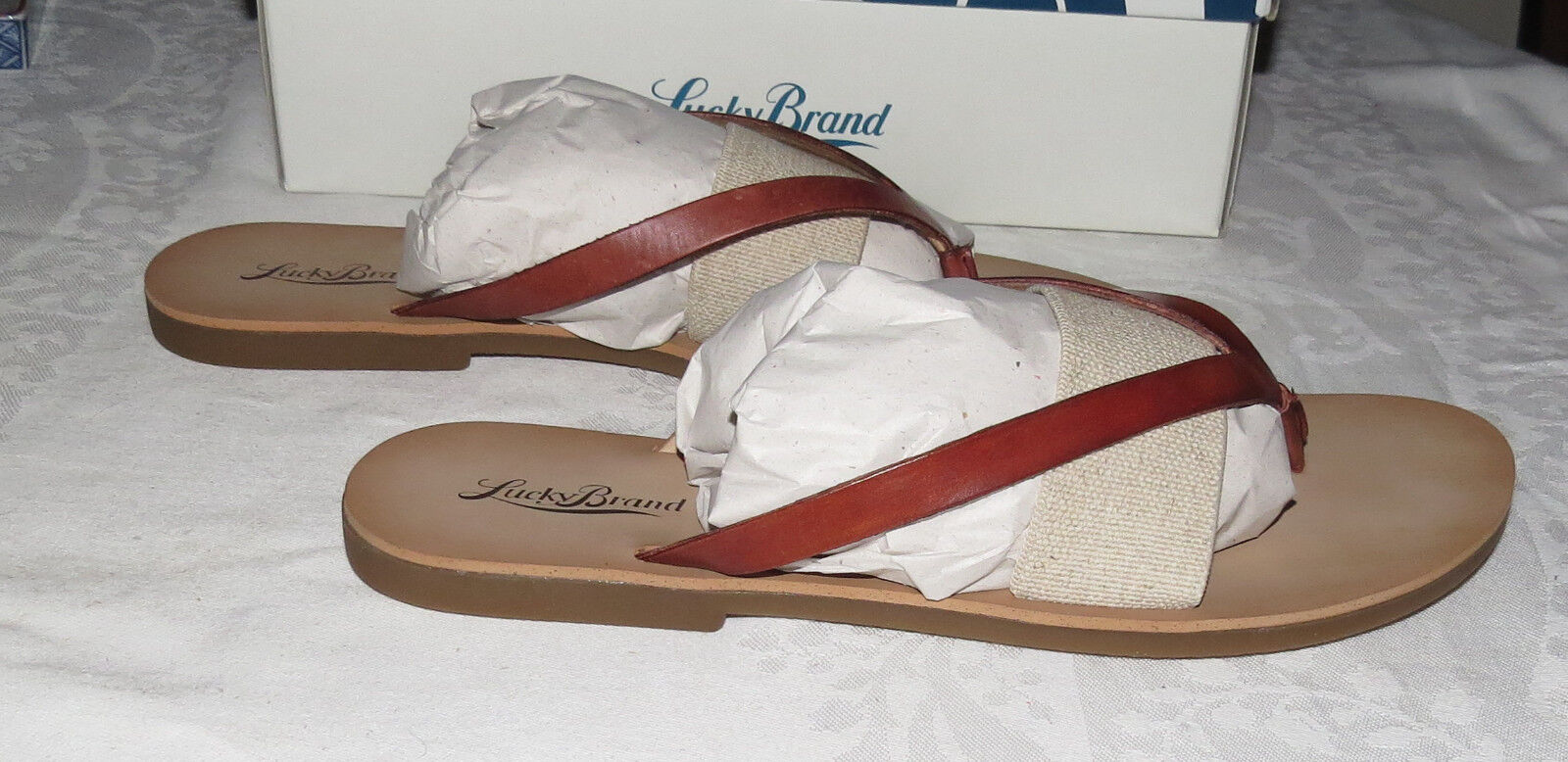 Lucky Brand Brick Natural 9.5M Sandals Size 9.5M Natural NIB f05f3e