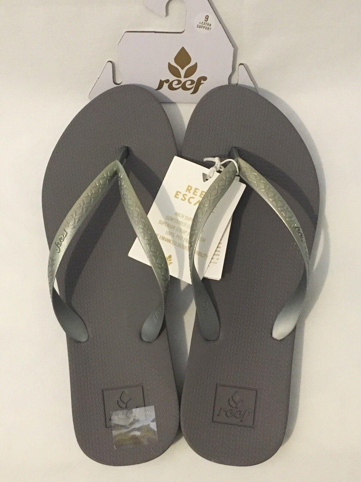 New Sz REEF Escape Lux Iridescent Silver Flip Flops Sandals Sz New 9 EU40 Arch Support 610853