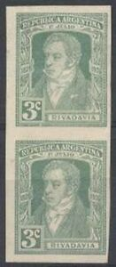 Argentina Trustful Argentina Proof Scott #358 Pair On Satin Paper Colour Approved