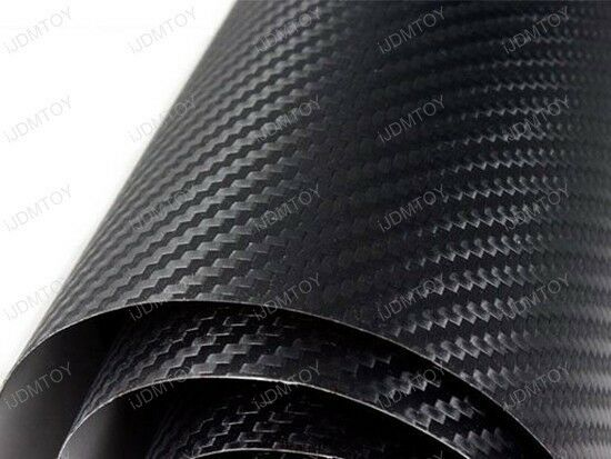 "3D Twill-Weave Glossy Black Carbon Fiber Vinyl Wrapping Sheet Film 24"" x 48"""