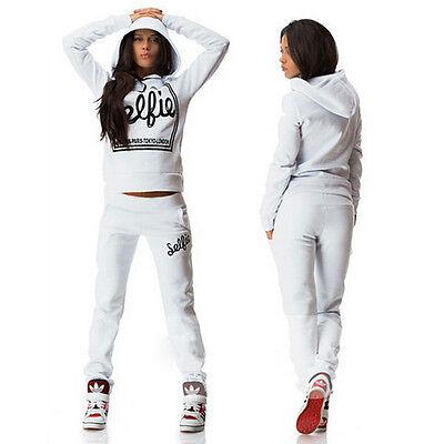 Womens Print 2Pcs Tracksuit Hoodies Pants Trousers Sets Sport Wear Suit Pullover