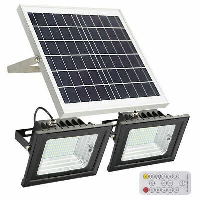 Dual 86LED Solar Flood Lights Patio Driveway Lawn Shed Light w// Remote Control