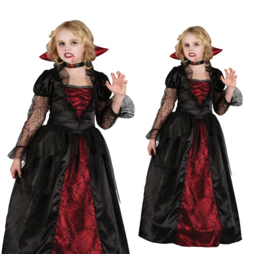 Child Deluxe Gothic Vampiress Girls Fancy Dress Kids Halloween Vampire Outfit