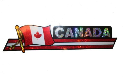CANADA  LONG COUNTRY FLAG  METALLIC BUMPER STICKER DECAL ..11.75 X 3 INCH