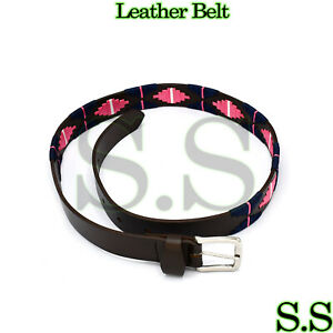 Genuine Leather Polo Belt Navy Blue /& Pink Color Hand Woven Pattern 90 CM BLT-07