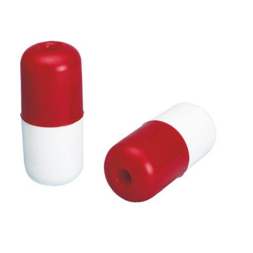2 Stück Ø60x140mm Schwimmer zylindrisch mit Durchführung weiß-rot
