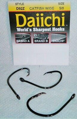 DAIICHI D92Z-5//0 Catfish Wide Circle Hook Size 5//0 black nickel 3 per pack