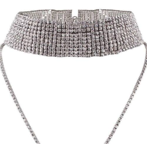Layered DIAMONTE Crystal CHOKER Necklace PARTY Celebrity BRITISH COMPANY  .X