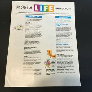 Details About The Game Of Life Replacement Instructions 1991 Parts Pieces