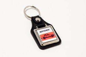 Fiat-124-Spider-Keyring-Leatherette-amp-Chrome-Retro-Classic-Car-Auto-Keytag