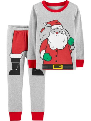NEW Carter/'s Boys 2 Piece PJs Santa Claus Holiday 3T 4T 5T 6 7 8 12 year Gray