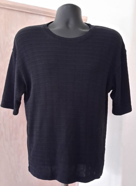Maxini Collezione Mens Short Sleeve Black Knit Grid Pattern Top