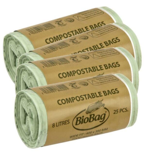 8 Litre x 100 Compostable Bags for Kitchen Caddy Biobag EN13432 Caddy Liners