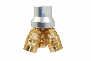 3 Way Air Hose Manifold Quick Coupler Connector Brass Fitting Adapter Splitter