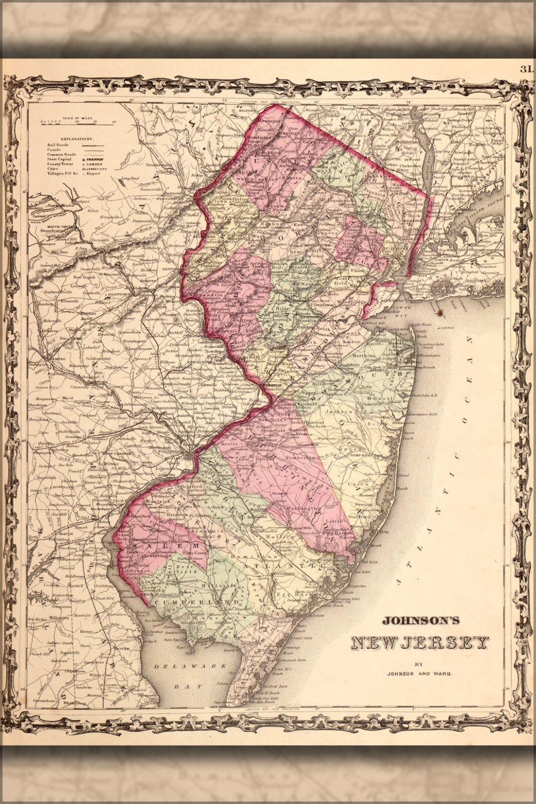 Plakat, Viele Größen; Karte von Jersey 1862