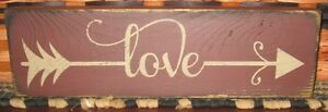 "PRIMITIVE COUNTRY LOVE 12"" SIGN arrow"