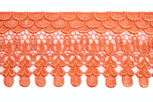 """5/"""" Wide Pink Orange Black Blue Yellow Latte Embroidered Venice Lace Trim by Yard"""