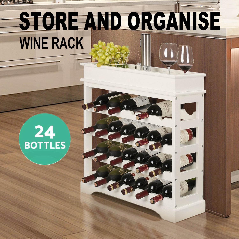 4 Tier Wine Rack Solid MDF Wood Stackable Holds Storage Display