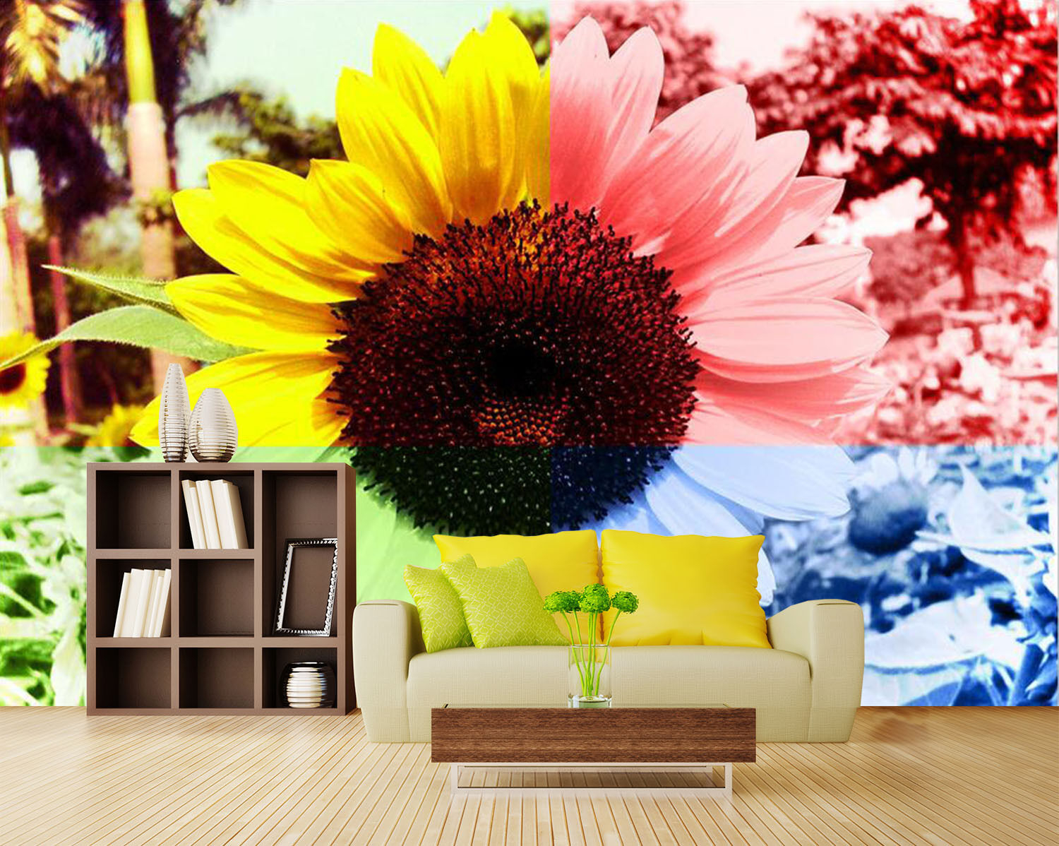 3D Farbeful sunflowers 236 Wall Paper Print Wall Decal Deco Indoor Wall Murals